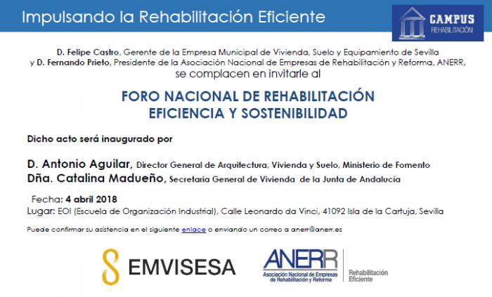 Foro Nacional de Rehabilitación Eficiencia y Sostenibilidad Sevilla